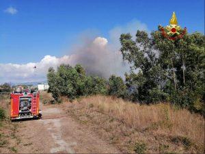 Latina: incendio di vegetazione
